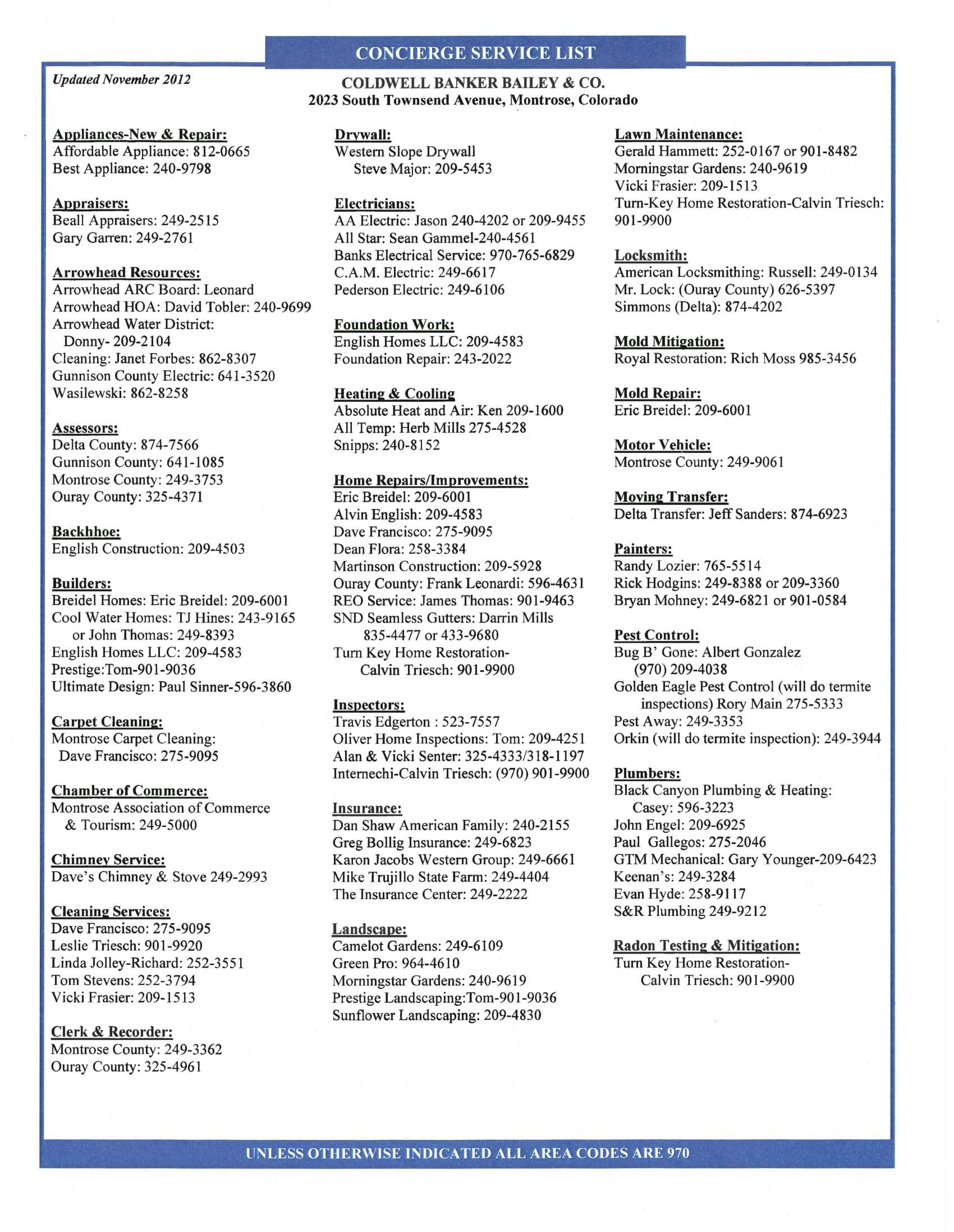 Concierge Service List