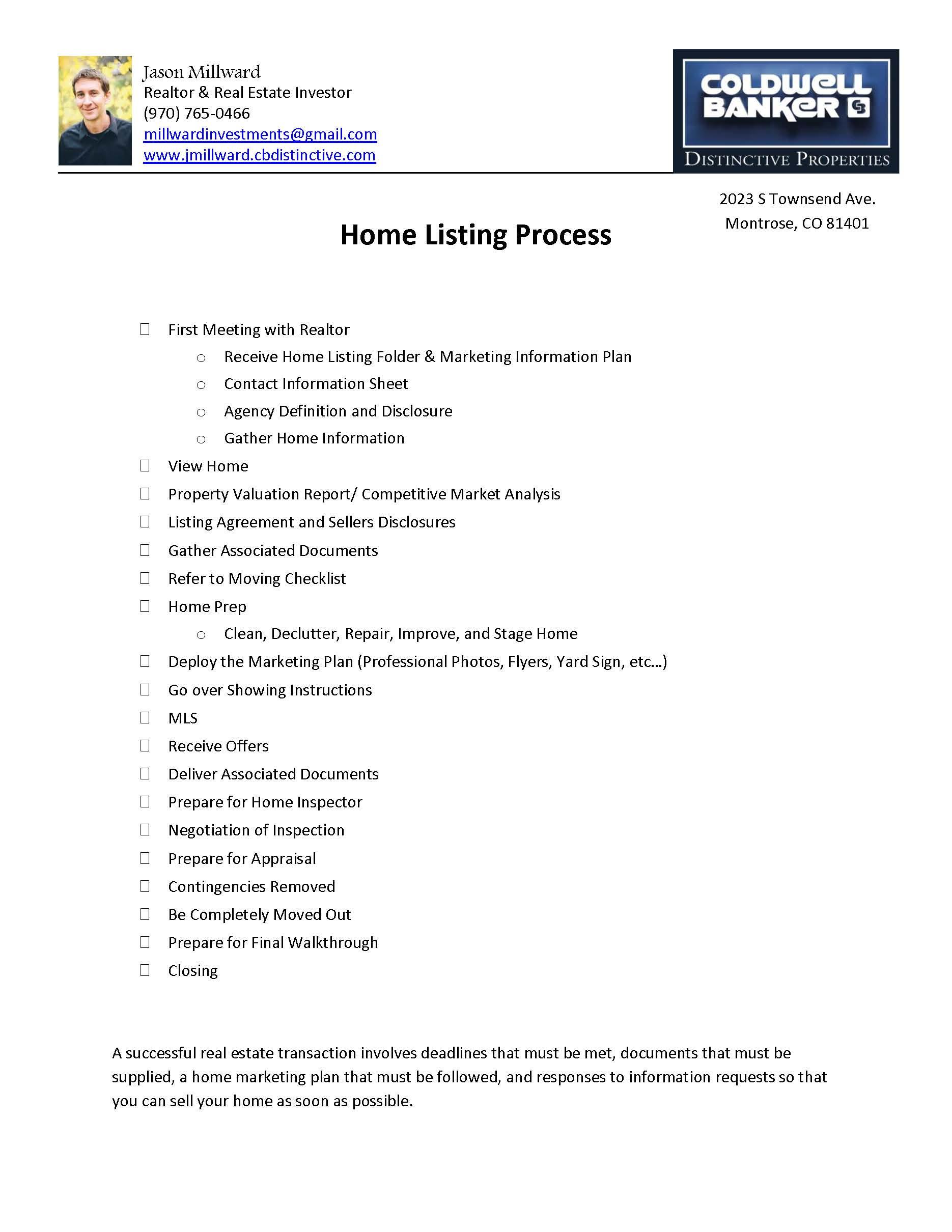 Sellers Checklist
